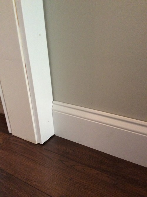 ... Our Doors The Trim Is Very Close To The Wall So The Baseboard Will Not  Slid Behind It. What Is The Correct Way To Install It So It Doesnu0027t Look  Stupid ?