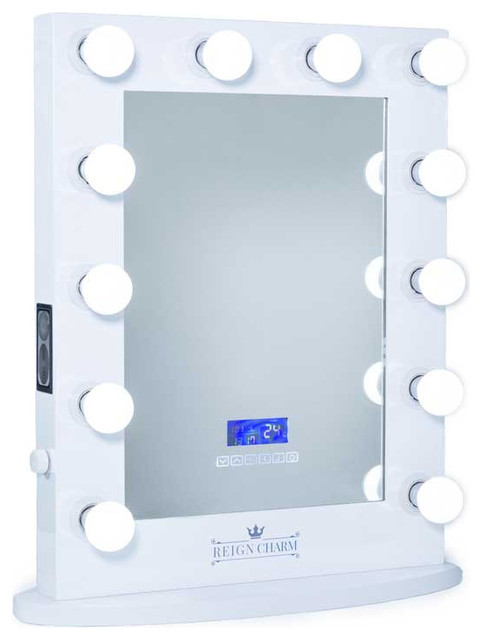 ReignCharm The Rockstar Hollywood Vanity Mirror With Bluetooth Audio-Enabled Speakers - Bathroom ...