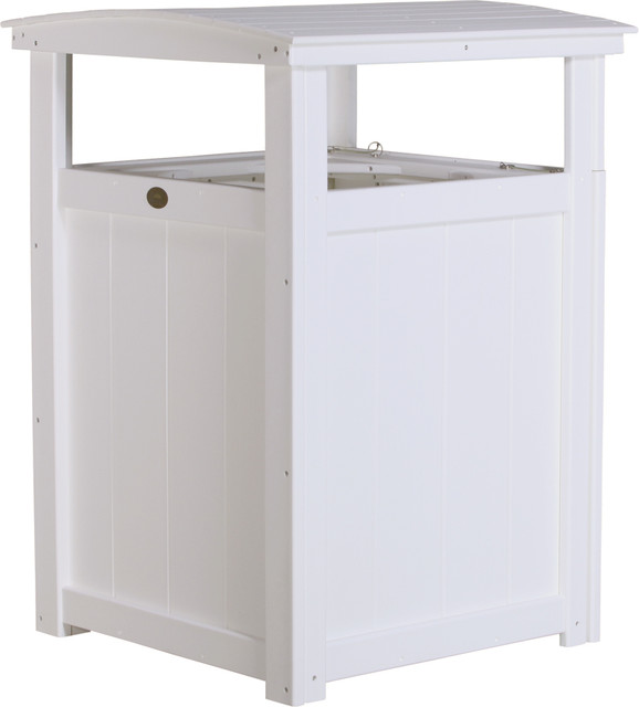 Poly Lumber Commercial Grade Trash Can White Modern