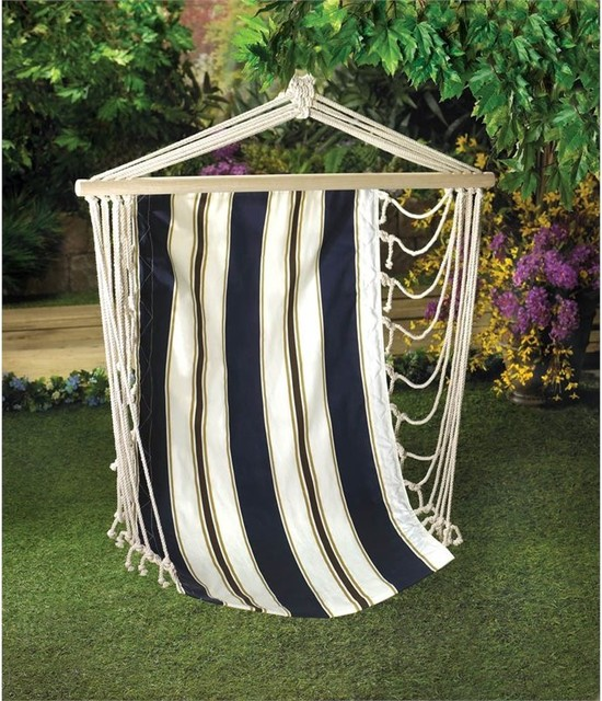 Striped Hanging Chair, Navy.