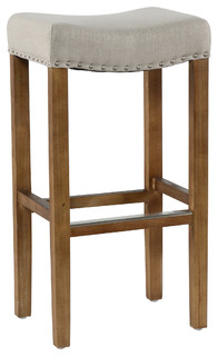 Kosas Home Varville Backless Barstool, French Beige