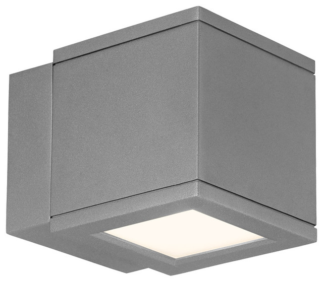 WAC Lighting Rubix LED Outdoor Up and Down Wall Light, Graphite
