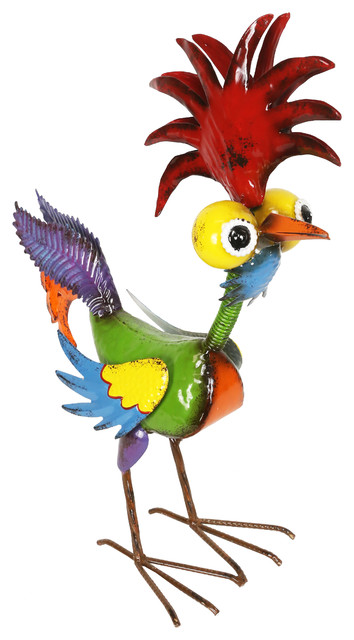 Alpine Wacky Tropical Metal Rooster Decor Statue, 17 Inch Tall