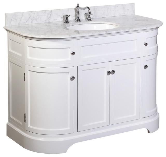 corner bathroom vanity tops. Kitchen Bath Collection  Montage 48 Vanity With Carrara Top White Bathroom Rounded Corner Vanities Houzz