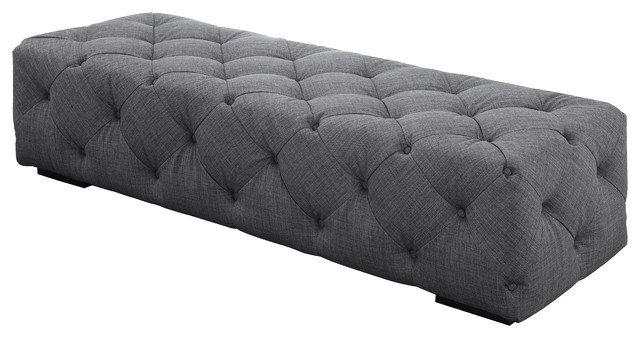 Jasper Bench, Gray, Material: Fabric. -1