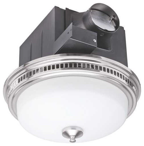 Monument 110 Cfm Bathroom Exhaust Ventilation Fan With Light Steel Bpt14-24al.