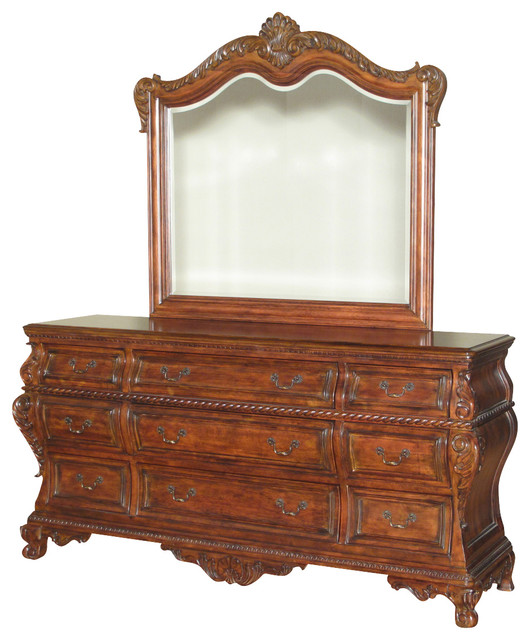 6ft Wide Mahogany French E 9 Drawer Vanity Chest Dresser W Mirror