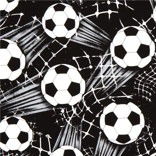 d7927b485 black Soccer Ball Timeless Treasures fabric from the USA - Fabric ...