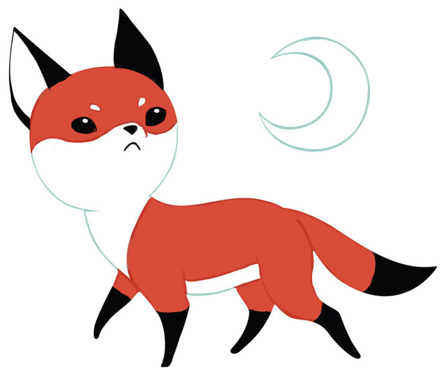 Fox Anime Art Wall Decal Moon Fox by Indre Bankauskaite  : contemporary wall decals from www.houzz.com size 640 x 540 jpeg 40kB