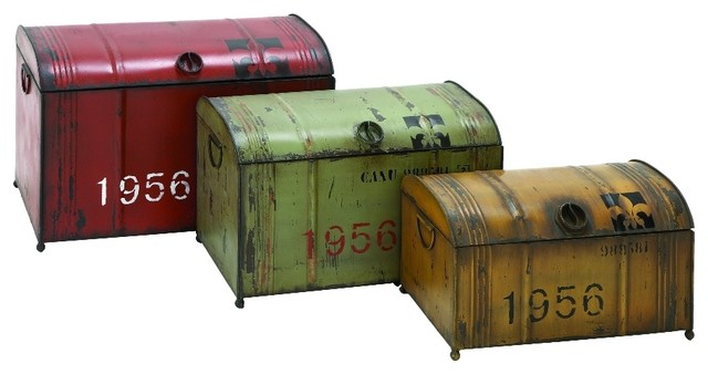 Set Of 3 Metal Storage Trunk Bo Red Green Yellow Accent Decor 69250