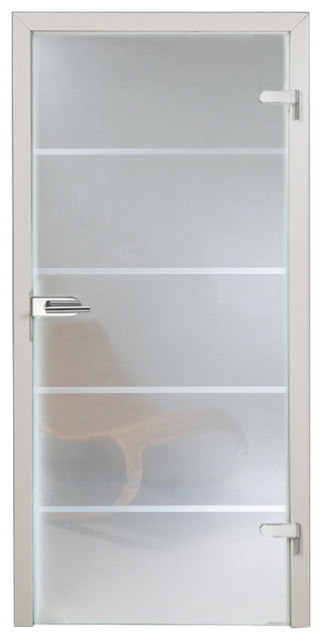 Office Semi Transparent Glass Doorfrosted Line Design