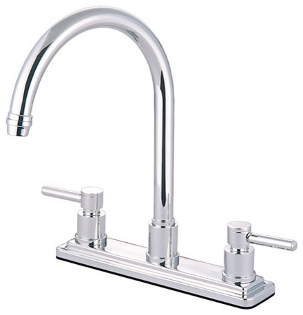 Kingston Brass Concord Two Handle Kitchen Faucet, Satin Nickel