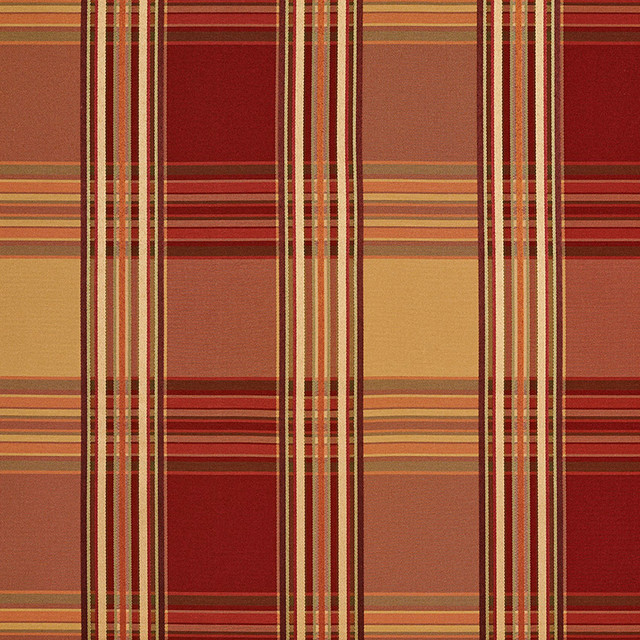 Red Gold Shiny Striped Plaid Luxurious Faux Silk Upholstery Fabric