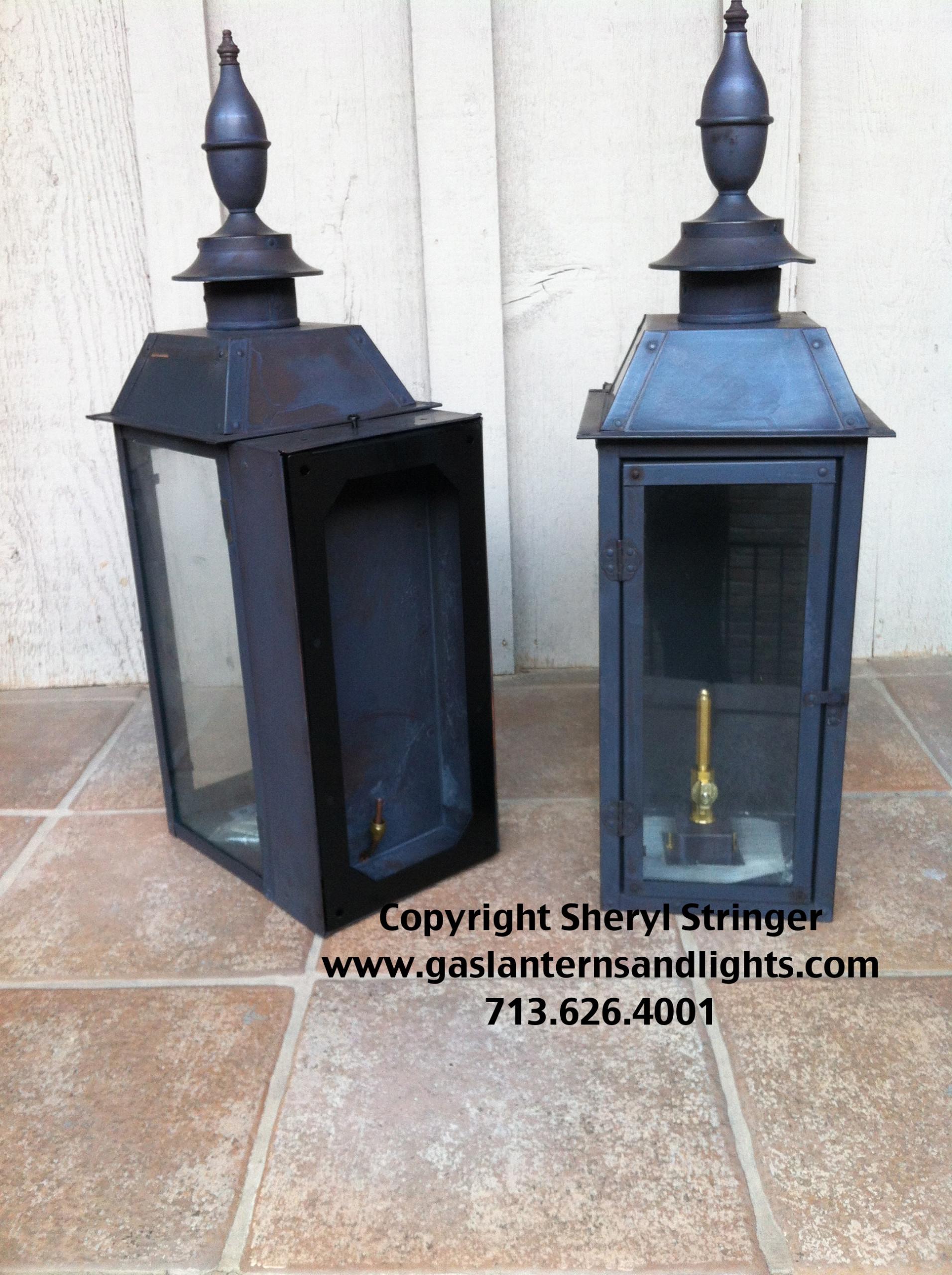The Montgomery Gas Lantern with Dark Patina Finish By Sheryl Stringer