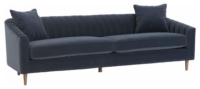 Eve Mid Century Modern Deep Navy Velvet Channel Back Sofa.