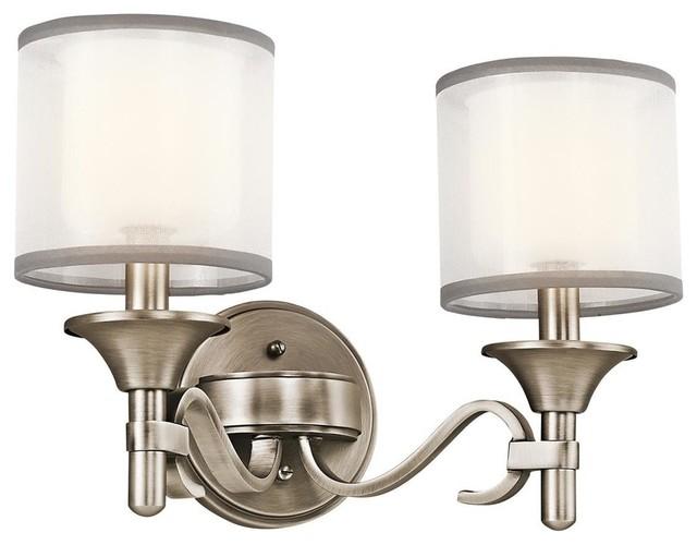 Kichler Lacey Antique Pewter Four Light Bath Fixture: Kichler 2-Light Wall Mounted Bath Light