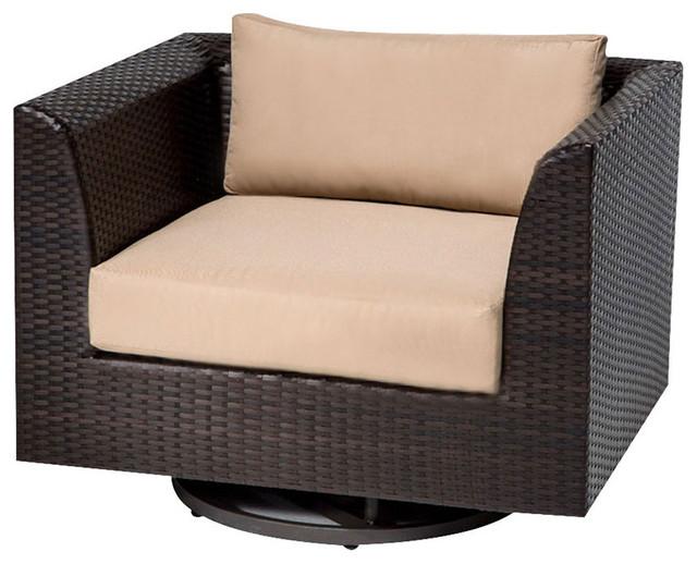 Tk Clic Barbados Wicker Patio Swivel Chair In Tan
