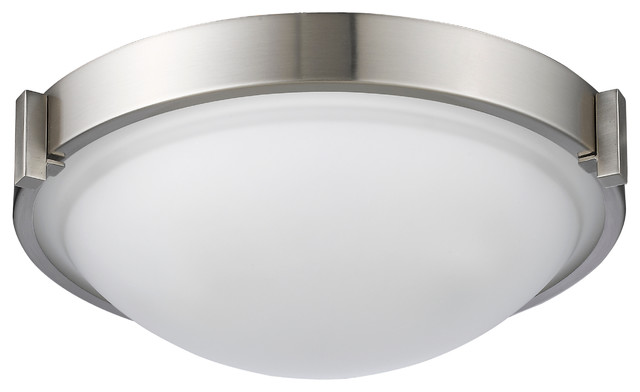 Smith Transitional 2-Light Bushed Nickel Flush-Mount Ceiling Fixture 13 Wide.