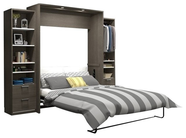 "Atlin Designs 104"" Queen Wall Bed Kit, Bark Gray And White."