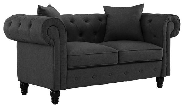 Classic Scroll Arm Chesterfield Style Loveseat, Modern Fabric Sofa, Dark Gray.
