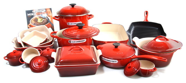 Captivating Le Creuset Signature Enameled Cast Iron 24 Piece Cookware Set, Cherry  Traditional Cookware