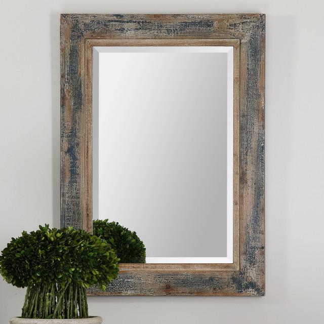 Uttermost Bozeman Mirror Distressed Blue Farmhouse Wall Mirrors By Buildcom Houzz