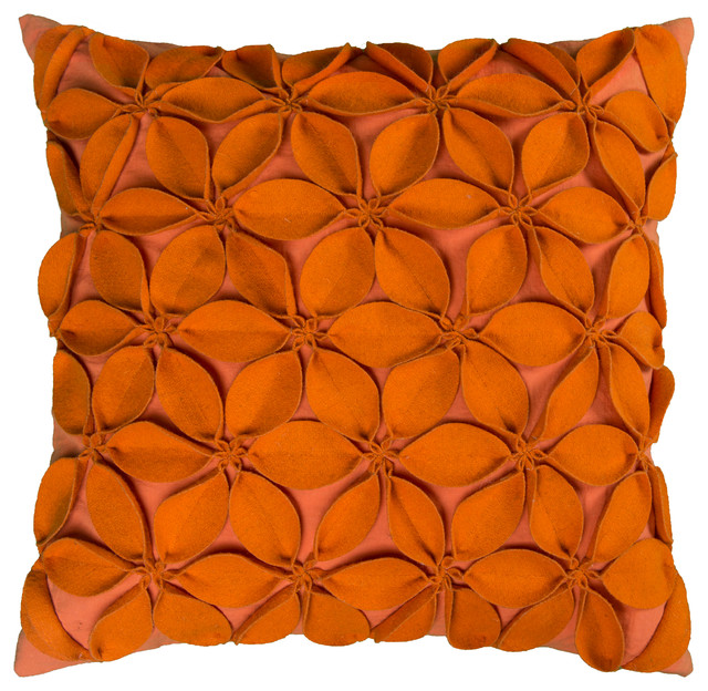 Rizzy Home Decorative Pillow, Orange.