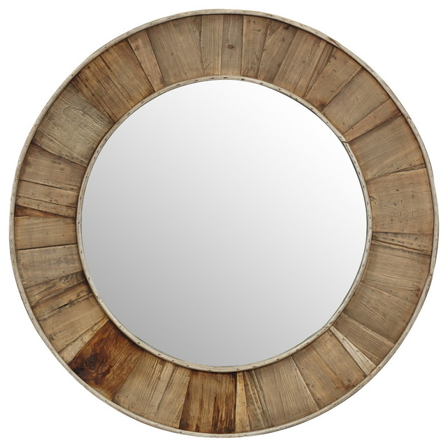 Cromer Recycled South Pine Wall Mirror, 36x36.