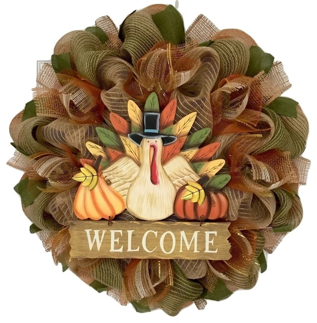Wood Thanksgiving Turkey With Welcome Sign Burlap Deco Mesh Wreath Handmade