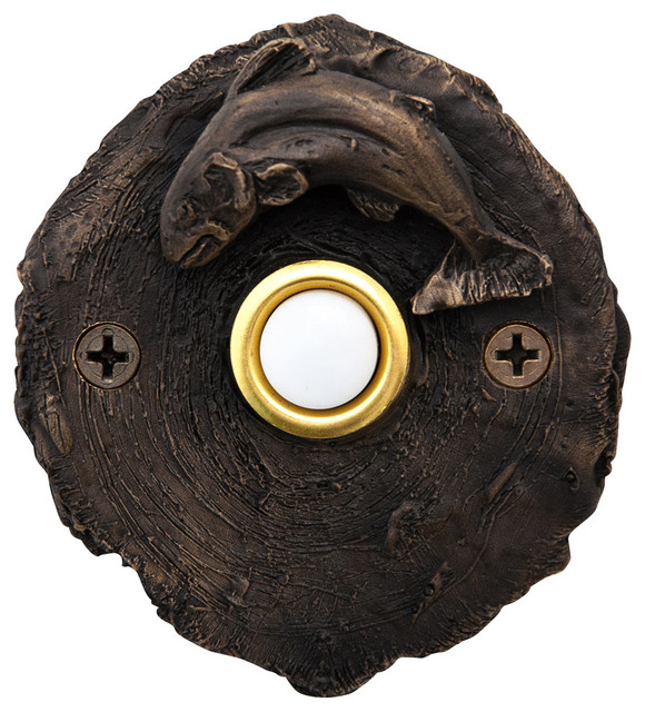 Doorbell Button, Log End With Fish, Basic Patina.