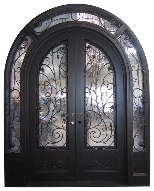 86 X108 Wrought Iron Front Double Door With Low E Gl Left Hand