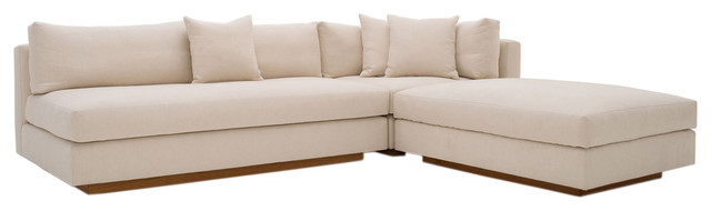 Modern Pch Comfortable Reversible Sectional Sofa, Usa Made, Oatmeal.