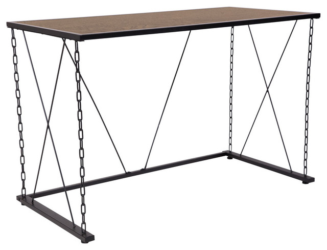 Vernon Hills Antique Wood Grain Finish Computer Desk With Chain Metal Frame.