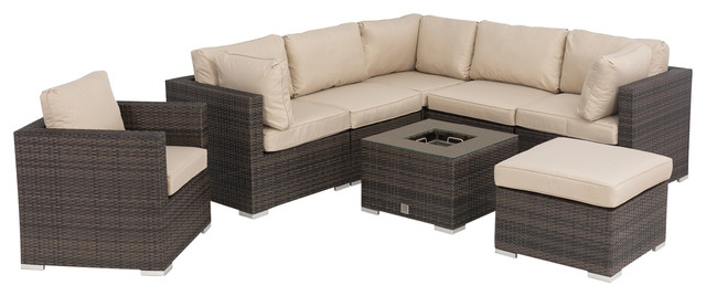 London Corner Sofa and Armchair Set, Brown