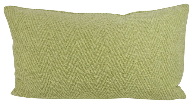 Green Chevron Chenille Lumbar Throw Pillow With Feather Down Insert - Contemporary - Decorative ...