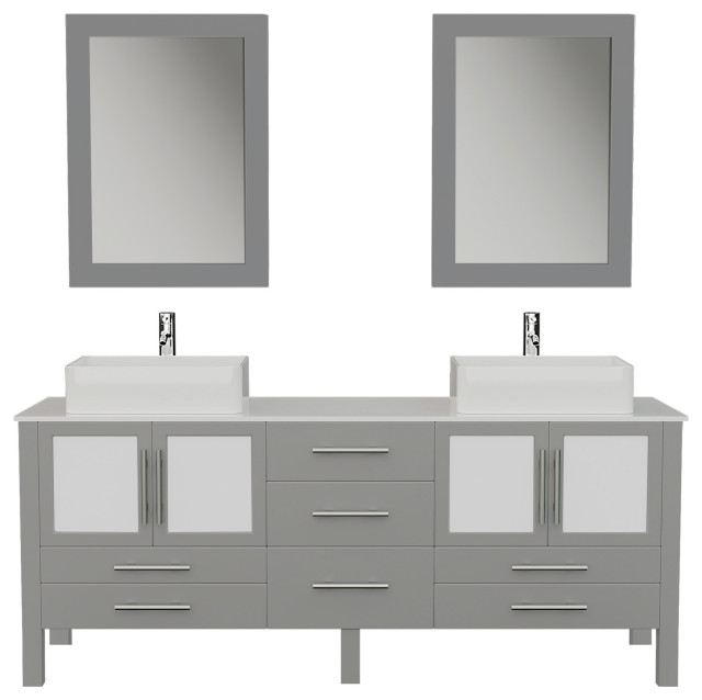 71 Gray Double Vessel Sink Bathroom Vanity With White Porcelain Top And Sinks Contemporary Bathroom Vanities And Sink Consoles By The Tub Connection Houzz