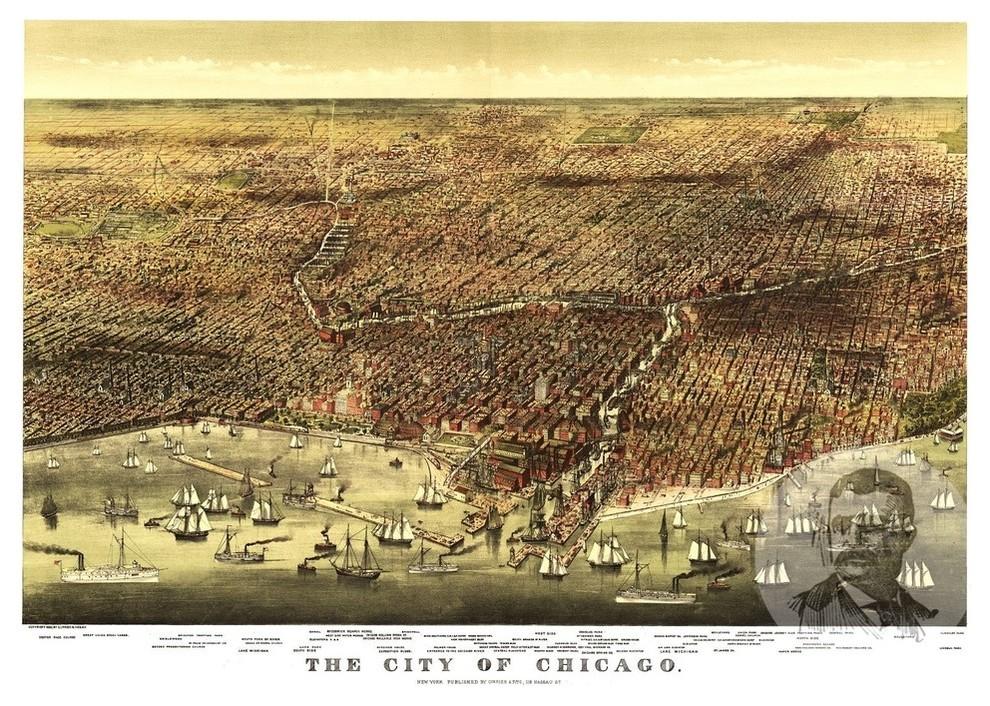 24x36 Bird/'s Eye View 1892 Lancaster New York Vintage City Map