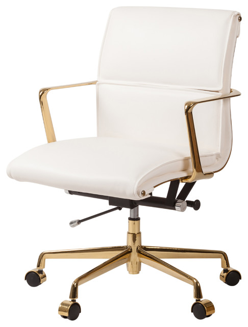Wondrous Cooper Modern Office Chair With Gold Base White Ibusinesslaw Wood Chair Design Ideas Ibusinesslaworg