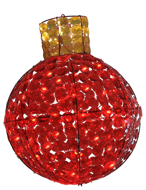 19 Led Lighted Red And Amber Faceted Light Bulb Christmas Yard Art Decoration