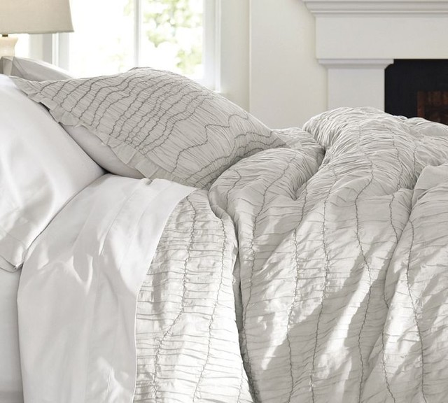Ruched Voile Duvet Cover Gray Contemporary Duvet Covers And Duvet Sets