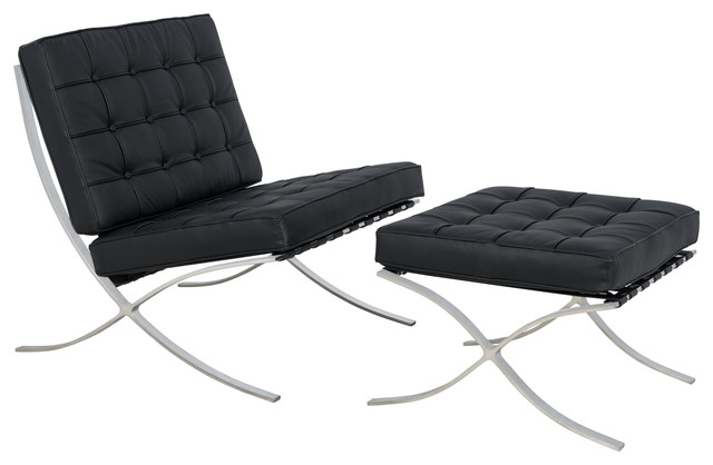 Melba Lounge Tufted Modern Chair And Ottoman, 2-Piece Set, Black, Leather.