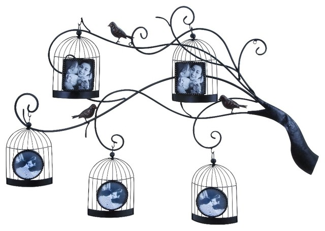 Bird Cage Picture Frames Hanging Black Metal Tree Branch Wall Decor ...