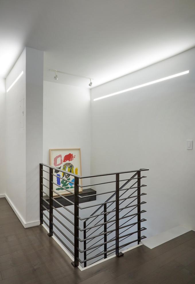 Gut Renovation   Hallway   Custom steel railing + stairway
