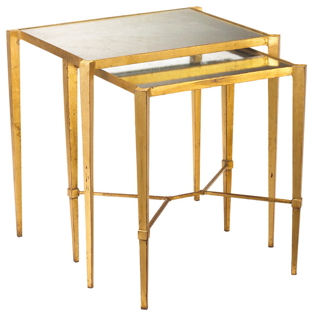 Gershon Hollywood Regency Antique Mirror Nesting Tables, Gold Leaf  Transitional Side Tables