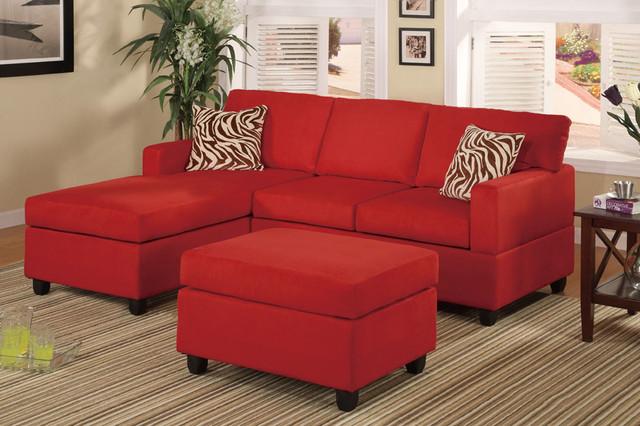 Gentil Modern Small Red Microfiber Sectional Sofa Reversible Chaise Ottoman Modern  Sectional Sofas