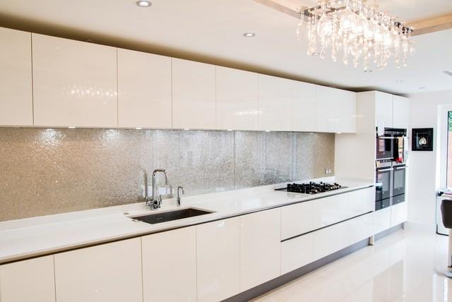 "Modern Kitchen Splashbacks premium silver"" glass kitchen splashback - modern - kitchen"