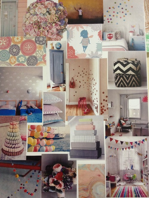 Baby girls nursery moodboard