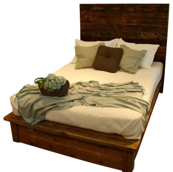 saratoga reclaimed wood platform bed with under drawers rustic kids beds by uintah log. Black Bedroom Furniture Sets. Home Design Ideas