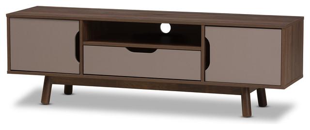 Britta Mid Century Modern Walnut Brown And Gray Two Tone Wood Tv