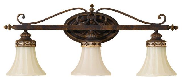 3 light vanity fixture walnut mediterranean bathroom vanity lighting by lampclick for Mediterranean bathroom lighting
